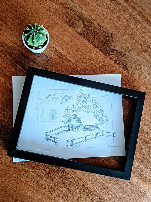Snowy Cabin Pencil Study