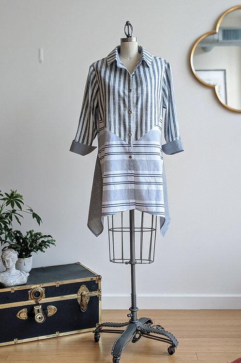 Three Tone Stripe Button Up Shirt