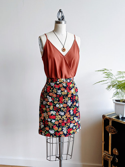Floral Corduroy Button Up Skirt