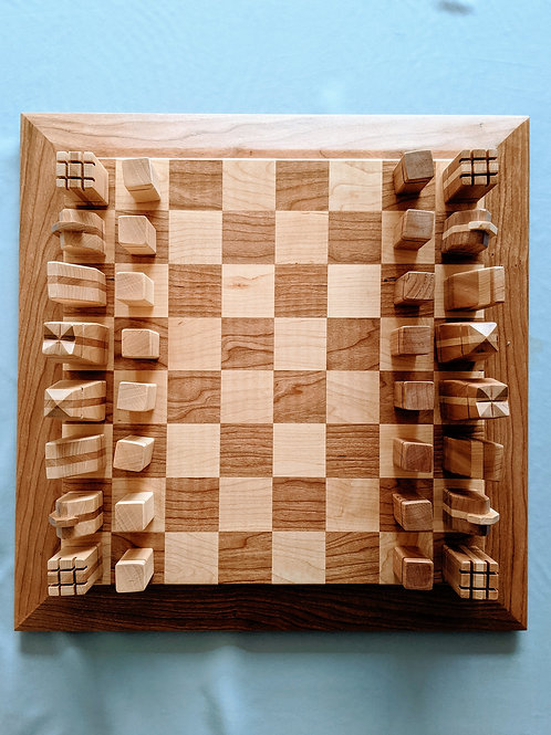 Pine and Oak Chess Set