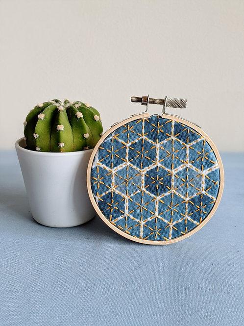 Blue and Gold Hexagon Hoop