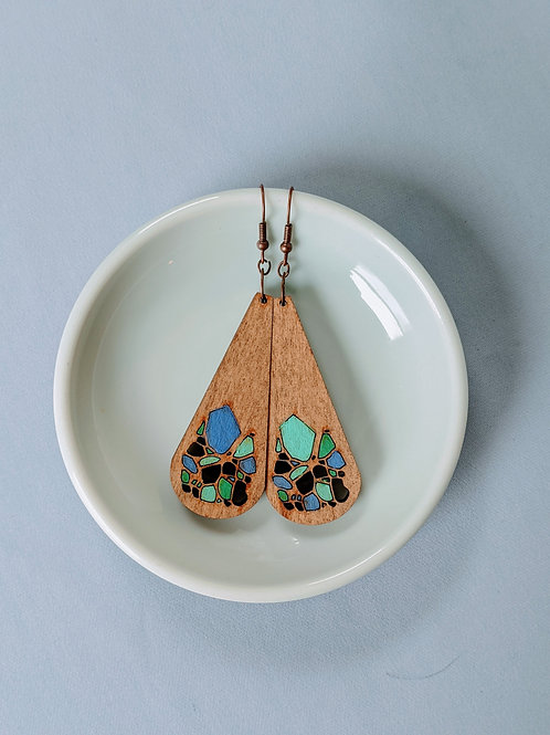 Blue Teardrop Wood Earrings