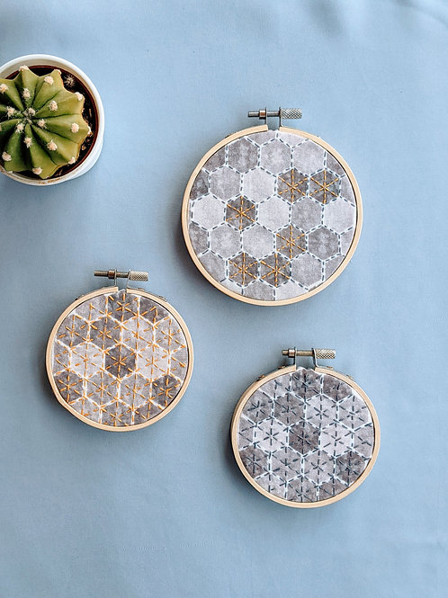 Stone and Gold Embroidery Hoop Set