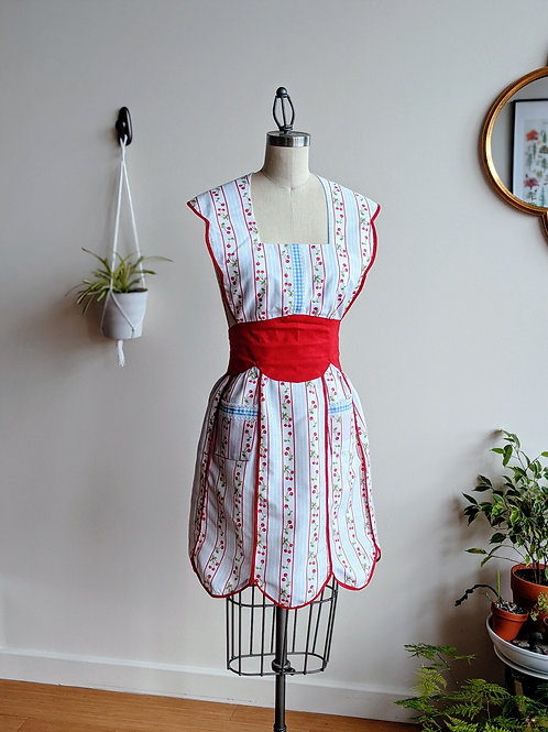 Cherry and Gingham Vintage Apron