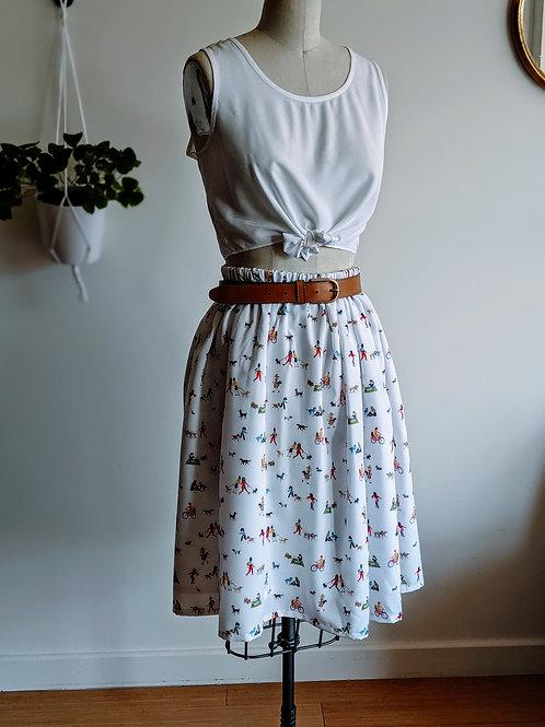 Dog and Lady Print Skirt