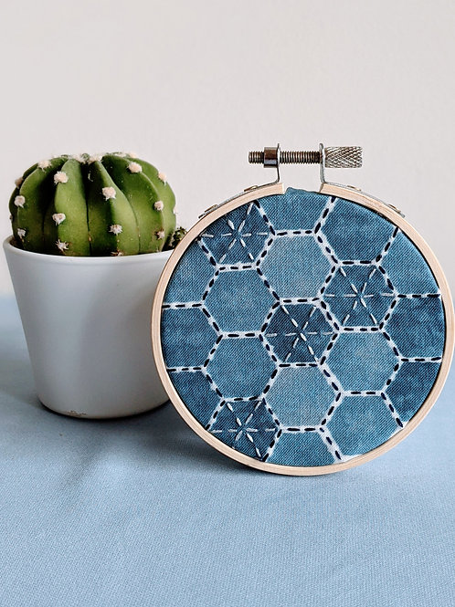 Indigo and Silver Hexagon Hoop