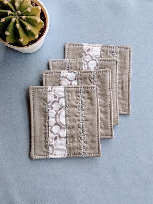 Stone Gray Shashiko Coasters