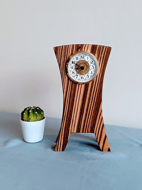 Zebra Wood Mantel Clock