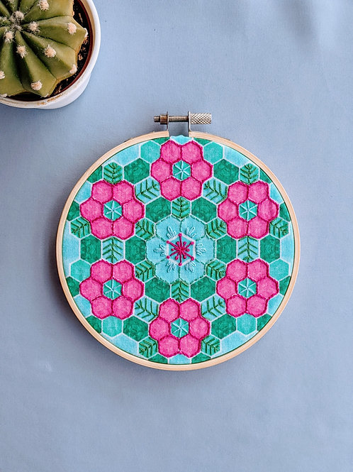 Tropical Floral Embroidery Hoop