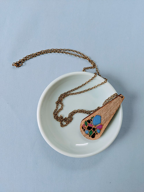 Teardrop Wood Necklace