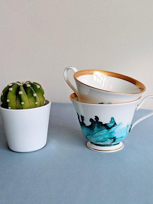 Inked Porcelain Tea Cups