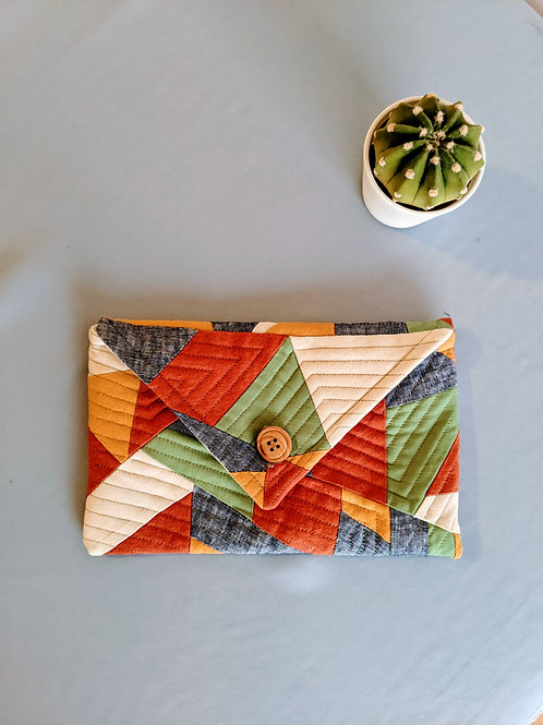 Abstract Quilt Button Clutch