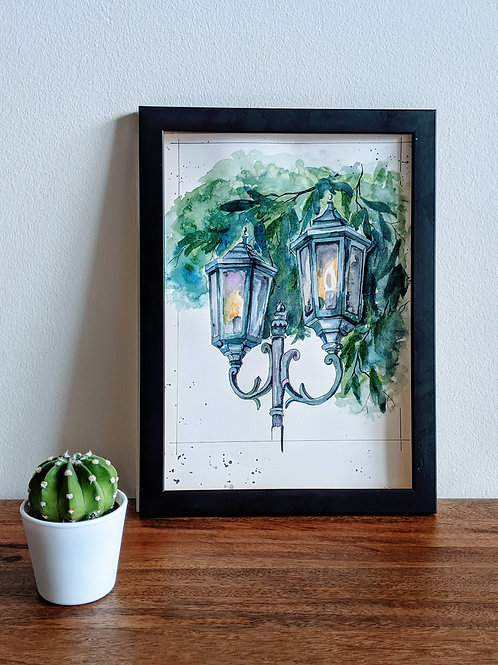Watercolor Carriage Lamps