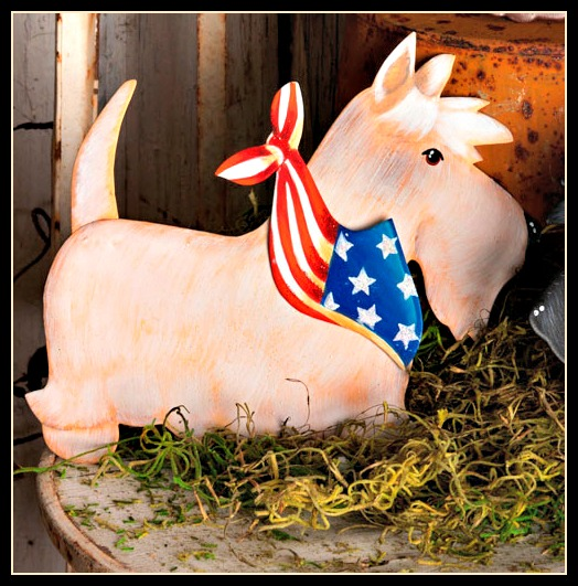 Patriotic Wheaten Scottie Stake