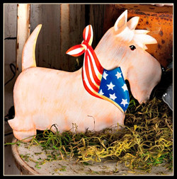 Patriotic Wheaten Scottie Stake