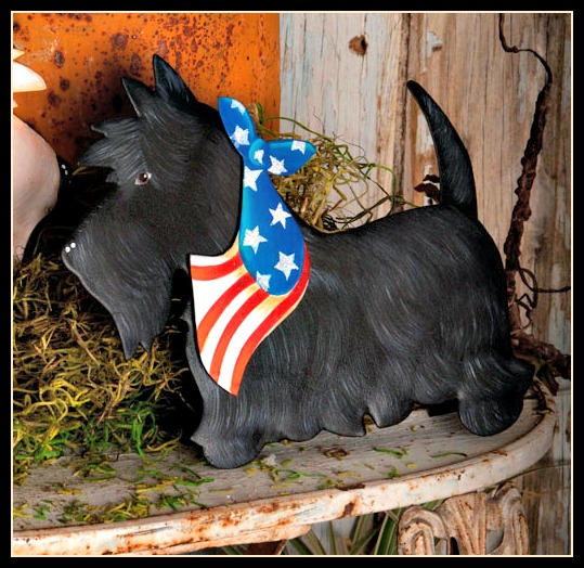 Patriotic Black Scottie Stake