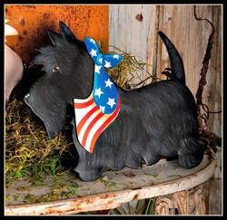 Patriotic Black Scottie Stake
