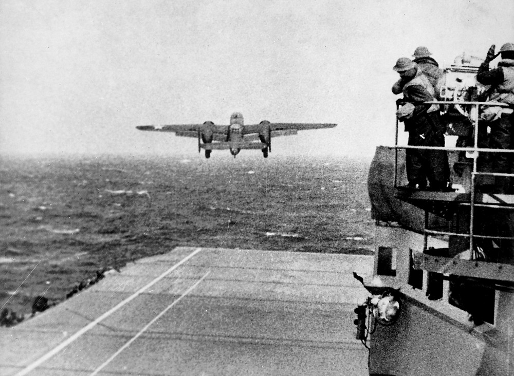 A B25 taking off from USS Hornet for the Doolittle Raid [Image credit: Wikipedia]