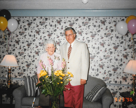 1996 scott and his mother, grace, for her birthday (80s something)