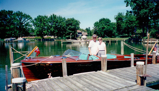 """2000 scott and julie with old smoothie II at the dock at """"the landing"""""""