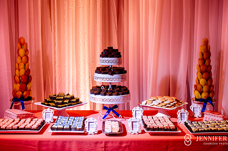 coral and navy wedding dessert table