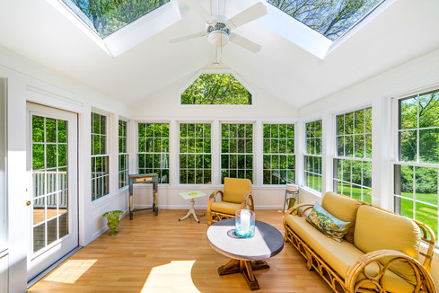 Clean and bright sunroom.