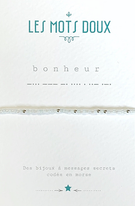 """Bracelet morse """" Bonheur""""  Bleu clair - Les mots doux"""