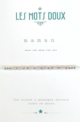 """Bracelet morse """" Maman"""" Blanc /gold- Les mots doux"""