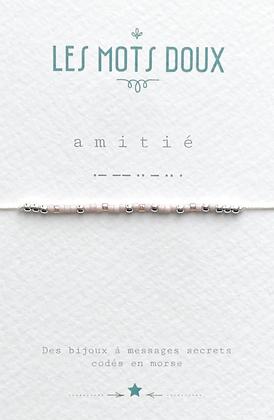 """Bracelet morse """" Amitié""""  rose clair / gold - Les mots doux"""