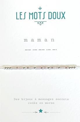 """Bracelet morse """" Maman""""  Rose pâle- Les mots doux"""