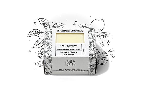 SAVON SOLIDE VAISSELLE – MENTHE CITRON – 250G - ANDREE JARDIN