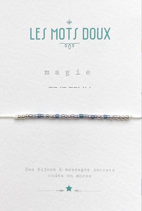 """Bracelet morse """" MAGIE """"  Bleu glacier - Les mots doux"""