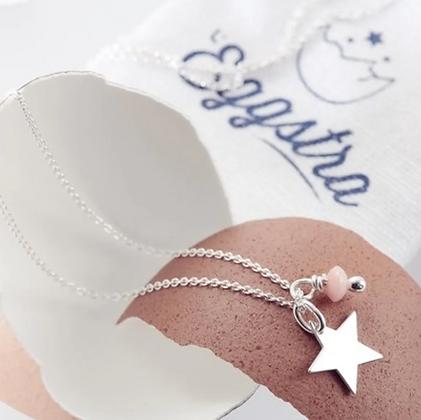 Oeuf collier étoile Odette rose L'EGGSTRA