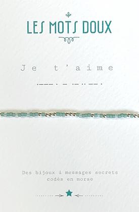 """Bracelet morse """" Je t'aime""""  Vert - Les mots doux"""