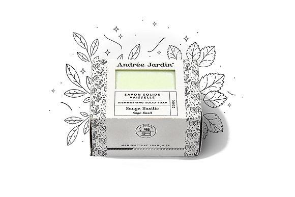 SAVON SOLIDE VAISSELLE – SAUGE BASILIC  – MENTHE CITRON – 250G - ANDREE JARDIN