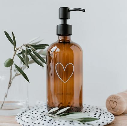 Distributeur de savon coeur en verre ambré