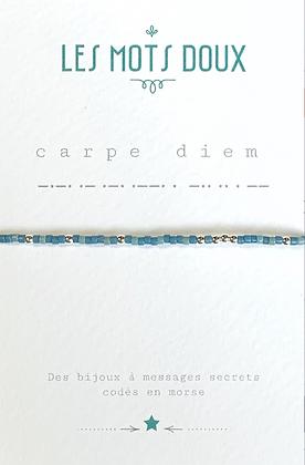 """Bracelet morse """" CARPE DIEM""""  Bleu glacier  - Les mots doux"""
