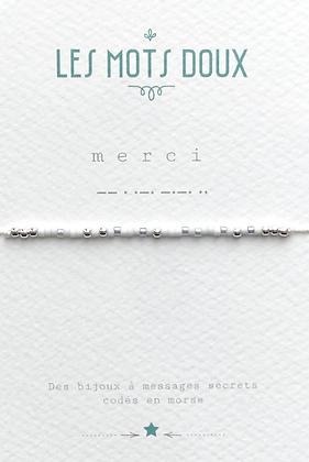 """Bracelet morse """" Merci """"  Blanc glacier  - Les mots doux"""