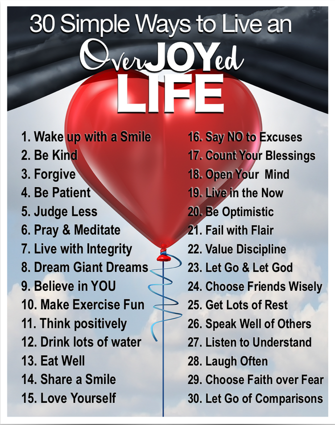 30 Simple Ways to Live an OverJOYed Life