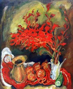 Red Gladioli & Pomegranites