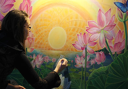 Joness Jones Painting Sunrise on the Lotus Pond