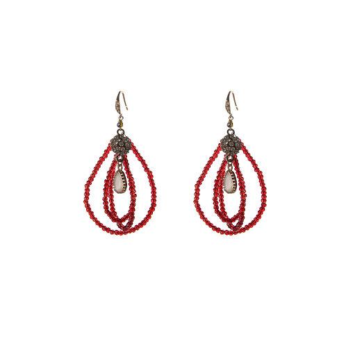Three Oval Burgundy Earrings