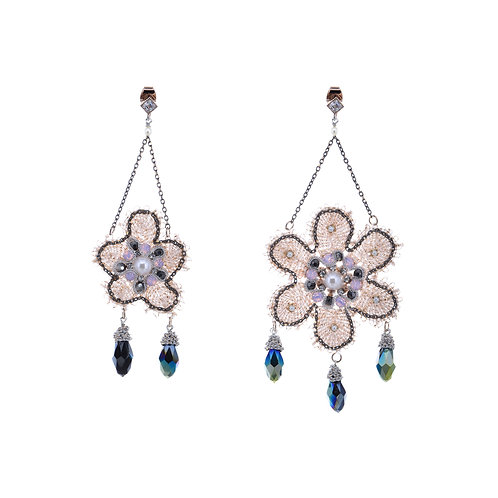 Lace Flower and three Crystal Drops Earrings - Black