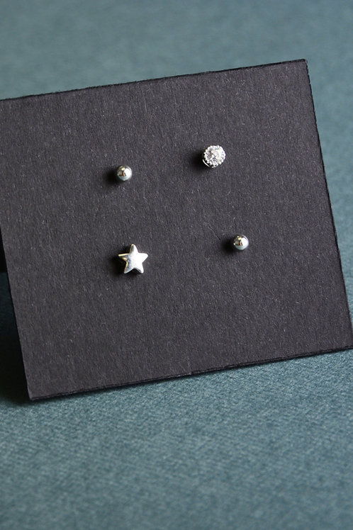 Star and Crystal Earrings Set