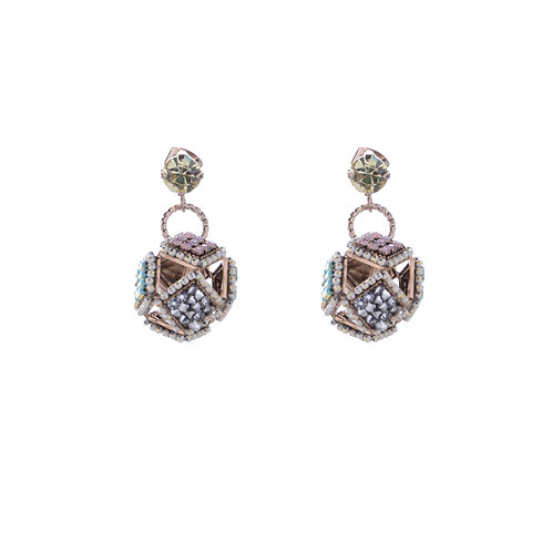 Square form a Sphere Earrings - Mint White