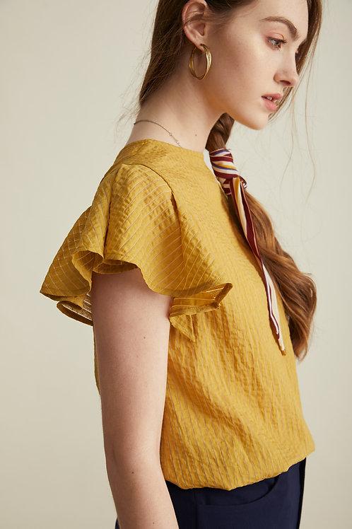 Rosie Ruffle Sleeve Top - Yellow
