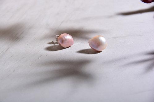 11mm Baroque Pink Freshwater Pearl Earrings