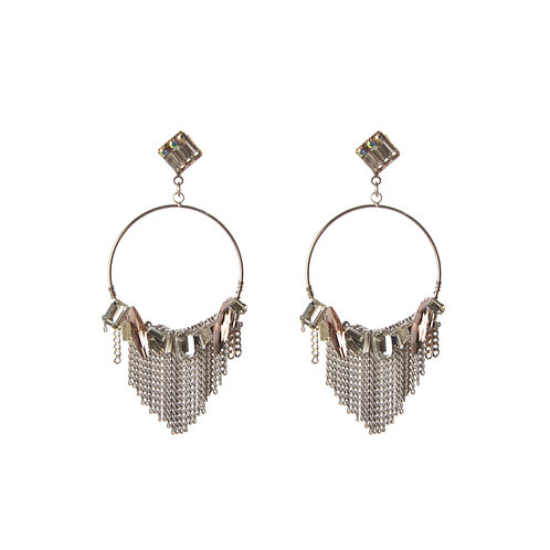 Crystal and Tassel on a Hola Circle Earrings