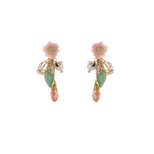 Peach Flower with Leaves Earrings