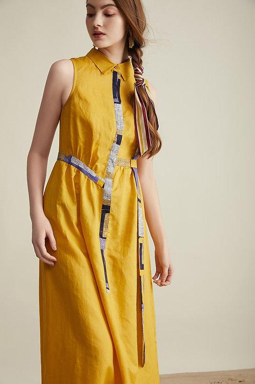 Livia Linen Shirtdress Yellow